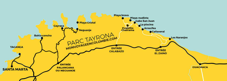Plan du Parc Tayrona en Colombie