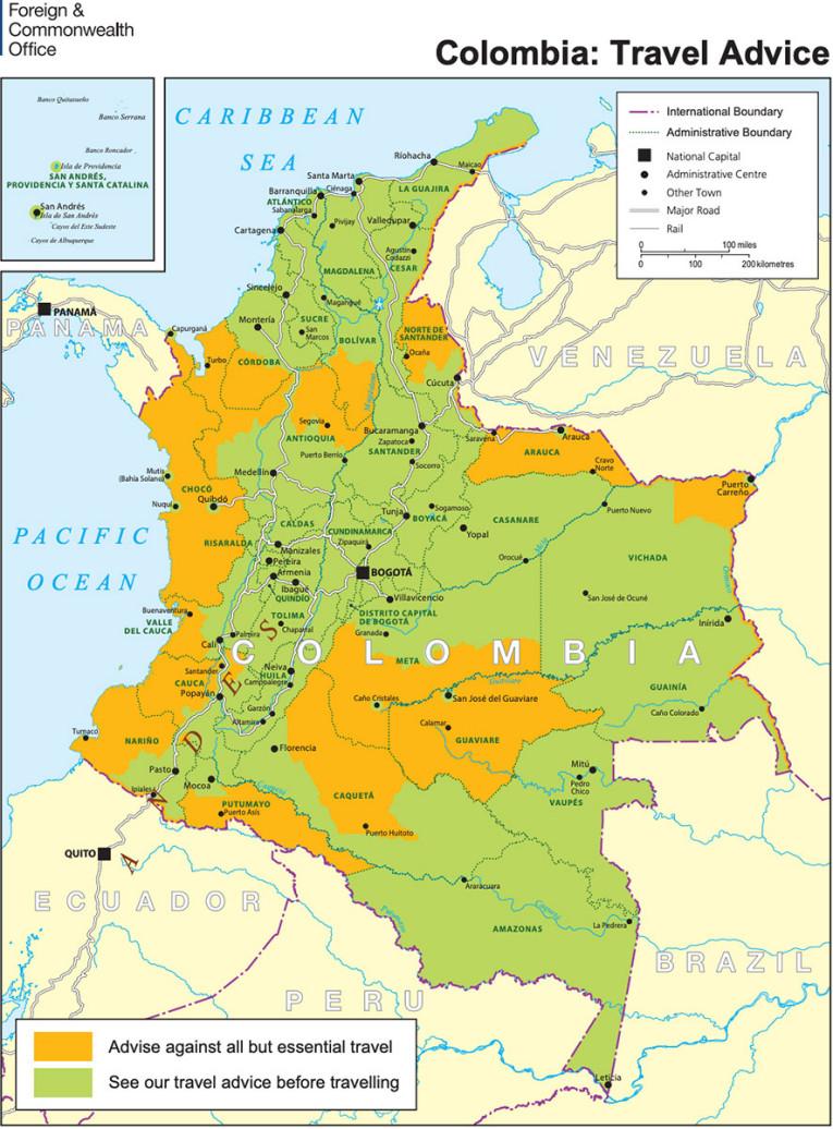 Carte de la sécurité en Colombie du ministère des affaires étrangères britannique