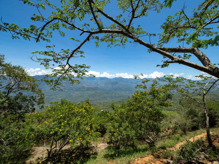 Vue sur le canyon à Barichara en Colombie