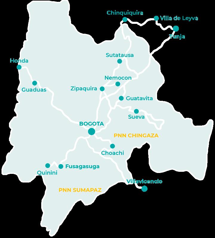 Carte des choses à faire aux alentours de Bogota