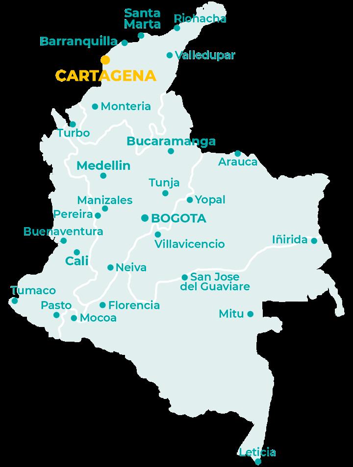 Carte de la Colombie avec Carthagène des indes