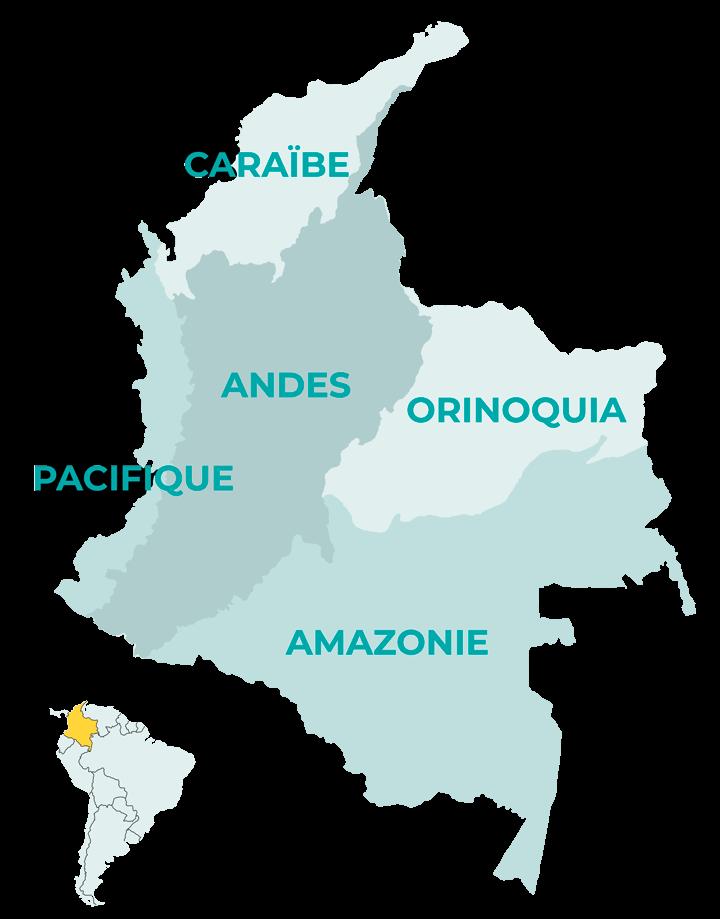 Carte des régions de Colombie