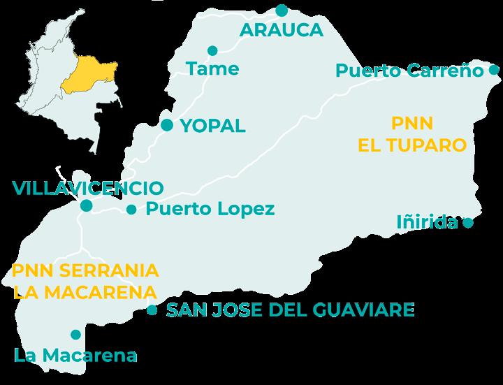 Carte de la région Orinoquia en Colombie