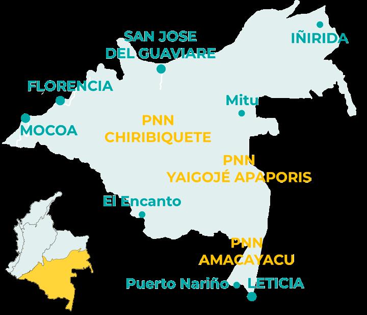 Carte de la région Amazonie en Colombie