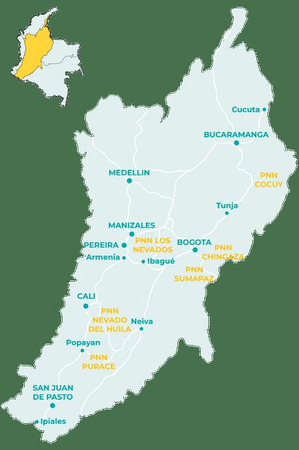 Carte de la région andine en Colombie