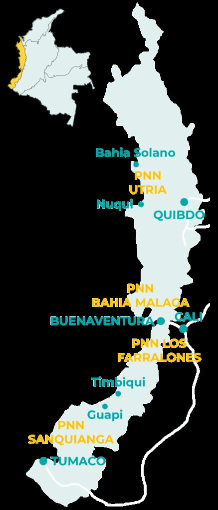 Carte de la région pacifique en Colombie