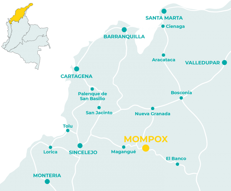 Carte de Mompox en Colombie