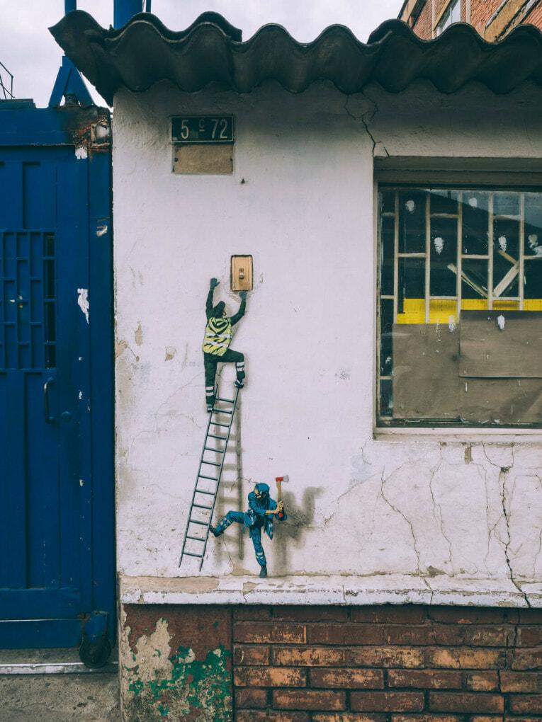 Street art au Distrito Graffiti à Bogota en Colombie